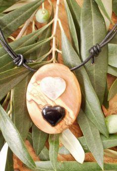 Hand carved Greek Olive Wood necklace inlaid by ellenisworkshop, $45.00