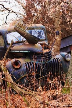 "doyoulikevintage: "" 1946 chevy truck "" (I apologize for the dang catering ad on this, but the truck is cool. 1946 Chevy Truck, Chevy Trucks, Pickup Trucks, Farm Trucks, Cool Trucks, Abandoned Cars, Abandoned Places, Abandoned Vehicles, Pompe A Essence"