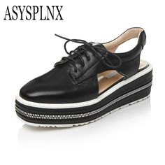 ASYSPLNX brand genuine leather slip up Light women flat Platform shoes, summer casual style lace up Cut-Outs Flats shoe sandals