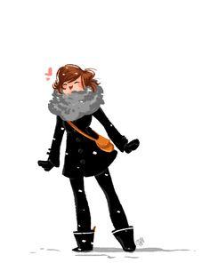Cute winter-loving girl
