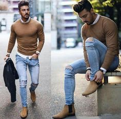 Camel sweater and light jeans