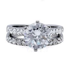Corinna: 4.72ct Russian Ice Diamond CZ 2 pc 316 Steel Wedding Ring Set - Trustmark Jewelers