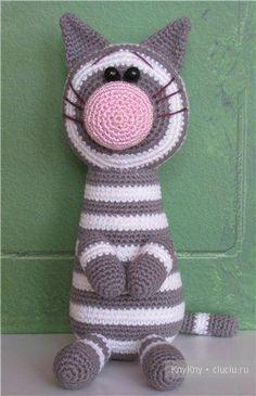 Кот - вязание игрушки крючком, описание / Вязание игрушек на спицах и крючком, схемы и описание / КлуКлу. Рукоделие - бисероплетение, квиллинг, вышивка крестом, вязание