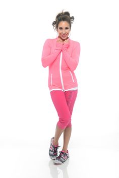 Pink Zip up Fitness Jacket. Wear it over your tank top to go into the gym, warm up and take it off! By Von Scher Active Up Fitness, Positive Reinforcement, Pink Zip Ups, Pilates, Joggers, Sporty, Warm, Workout, Tank Tops