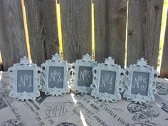 5 Vintage Style TABLE NUMBERS - Small Ornate Easel Frames - You Choose the Color - wedding reception sign. $35.00, via Etsy.
