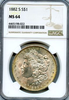 1882-S NGC MS64 United States Silver Morgan Dollar 90% Fine $1 Coin RR496