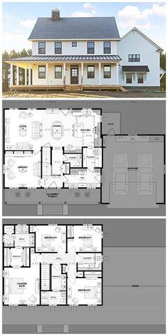 37 Architectural Designs Modern Farmhouse Plan – Farmhouse Room - House Plans, Home Plan Designs, Floor Plans and Blueprints Dream House Plans, My Dream Home, Dream Homes, House Design Plans, Large House Plans, Two Story House Plans, Open House Plans, Br House, Garage House