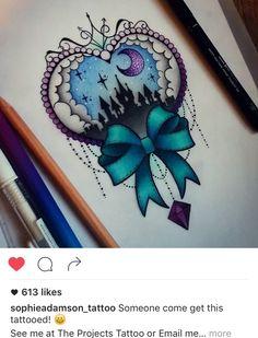 Disney Tattoo - Disney castle - My most beautiful tattoo list Girly Tattoos, Disney Tattoos, Pretty Tattoos, Beautiful Tattoos, Body Art Tattoos, New Tattoos, Tattoo Drawings, Cool Tattoos, Heart Tattoos