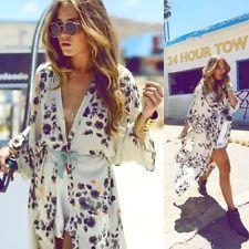 de6cdcd296da Fashion Women Floral Beach Cover UP Open Cape Casual Cardigan Blouse Kimono  Coat