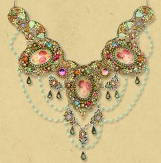お姫様がつけているような雰囲気のネックレス!色合いも独特の美しさですね。