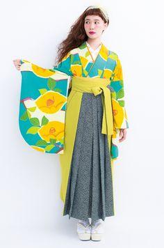 紅一点袴IN-2 トルコブルーと白地に黄大椿と黄緑の葉 黄色袴に黒の模様 和モダン袴 レトロ袴