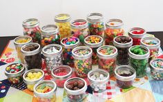 candy in different sized mason jars makes a great party display
