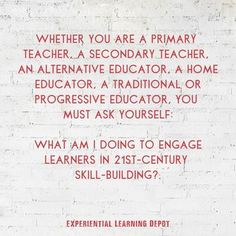 What are you doing to engage 21st-century learners in the 21st-century skill building? Can educators offer students both content knowledge and opportunities to develop essential 21st-century skills? The answer is yes! FInd out how. 21st Century Classroom, Secondary Teacher, Experiential Learning, 21st Century Skills, Education Quotes, Learning Activities, Curriculum, Students, Knowledge