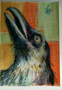 bird in chalk / krijttekening.