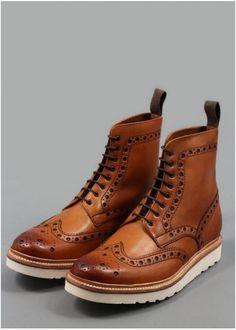 Grenson Fred Vibram Brogue Boots Tan | Triads