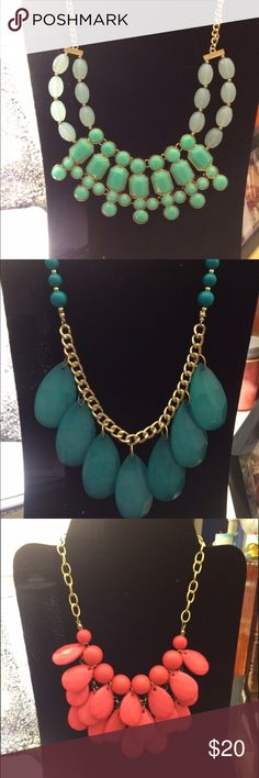 Statement necklace bundle!! An assortment of statement necklaces in various shades of teal and coral/pink! Charlotte Russe Jewelry Necklaces