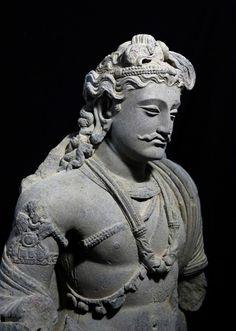 Standing Schist Bodhisattva. Northwest Pakistan, Gandhara, 2nd-3rd century A.D.