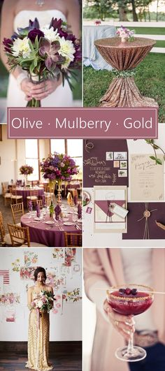 Olive, Mulberry and Gold Wedding Inspiration. #mulberry #weddinginspiration