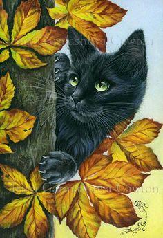 Peeping by: Irina Garmashova-Cawton - Cat Art - Chat Cat Embroidery, Image Chat, Black Cat Art, Black Cats, Cat Drawing, Animal Paintings, Cat Love, Crazy Cats, Cool Cats