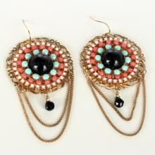 Gold plated flat dangling fish hooks earrings with black onyx cabochon surrounded by the rows of turquoise, pink coral and angel's skin color stones