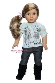 WESTERN-HORSE-TOP-JEANS-BOOTS-Outfit-for-18-inch-American-Girl-Doll-Clothes