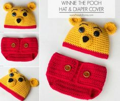 Winne Pooh Hat and Diaper Cover Free Patterns