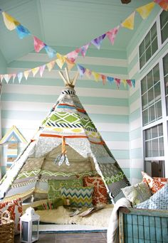 This tent is not simply a camping area, however can be made use of as well as functioned as an ornamental aspect of your house interior. Canvas Teepee Tent, Fun Crafts, Diy And Crafts, Kids Bedroom, Bedroom Decor, Diy Room Divider, Tent Design, Kidsroom, Cool Rooms