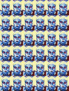 """Tableau réalisé à partir d'une photographie de presse de la championne de natation Laure Manaudou. Impression grand format sur support textile polyester - aspect soyeux - Peinture de l'original en """"laque ancienne"""". Tension sur châssis bois.  92x73cm"""