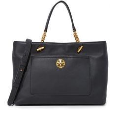 Tory Burch Chelsea Satchel (627 AUD) ❤ liked on Polyvore featuring bags, handbags, black, tote handbags, tote purses, satchel purses, leather tote handbags and leather purses