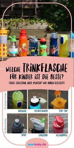 Drinking bottles for children in the test - these are the best for daycare, school and all ages ›Sparbaby.de - Glass, stainless steel or plastic: we have different drinking bottles for tested and show - Parenting Books, Gentle Parenting, Kids And Parenting, Glass Bottles, Drink Bottles, Daycare School, Kids Sand, Health Promotion, Crafts For Girls
