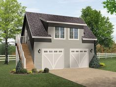 Shed dormer bungalow garage plan. With modification planned of small balcony. http://justgarageplans.com/3735/plan-detail/1010.php