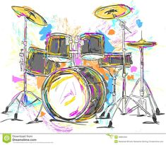 Paintings Of Drums | Drum Painting Vector Art - Vector Art.