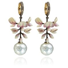 Ilgiz for Annoushka Wisteria chandelier earrings in yellow gold with diamonds and cultured and Tahitian pearls