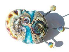 Sea Horse Ocean Fossil Aqua Tide handmade lampwork bead by Genea