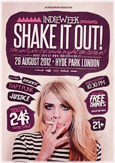 """""""Shake it Out"""" – This flyer was designed to promote an Indie Rock / Electro / Dubstep / Alternative / Pop / Urban music event, such as a gig, concert, festival, party or weekly event in a music club and other kind of special evenings. This poster can also Web Design, Flyer Design, Layout Design, Print Design, Graphic Design Posters, Typography Design, Branding Design, Layout Inspiration, Graphic Design Inspiration"""