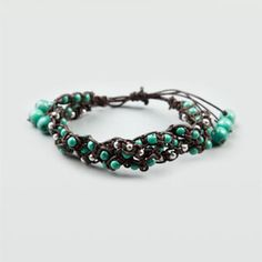 FULL TILT Braided Leather Bead Bracelet (Brown Combo)