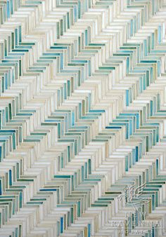 Houndstooth, a hand cut jewel glass mosaic shown in Aquamarine and Quartz | New Ravenna Mosaics
