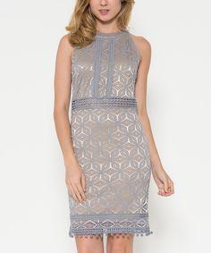 Another great find on #zulily! Dress Forum Gray Arabesque Pom-Pom Sheath Dress by Dress Forum #zulilyfinds