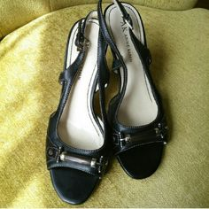 """⭐NEW PRICE⭐AK Leather Slingbacks Anne Klein Malandonm Leather Slingbacks, size 6.5. Has gorgeous hardware detail at the toe. Heel height 3 3/4"""". Shows SLIGHT wear on sole, foot bed and heel. Leather is in nearly perfect condition. Anne Klein Shoes Heels"""