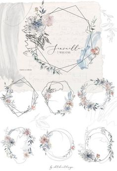 Sensuelle Pink Gray Blue Watercolor Floral Wreaths Geometric Frames Flowers Peonies Clipart Set Wedding Clip Art Hand Painted PNG Graphics Source by dchaveztrigo Floral Wreath Watercolor, Watercolor Flowers, Watercolor Art, Watercolor Wedding, Painting Flowers, Vintage Illustration, Watercolor Illustration, Floral Illustrations, Wedding Clip