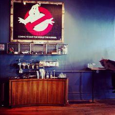 Wormhole coffeehouse. wicker park, chicago. 80s memorabilia...a real DeLorean car sits near the ceiling!