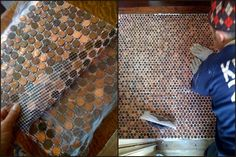 DIY Penny Floor, Table etc… I remember seeing these Penny tutorials and thinking how time consuming it would be to hand lay each penny. Well not anymore! Reno201 placed them on a mosaic tile backing (I didn't know you could even buy this could make mosaic work so much easier) and then grouted them withlaticrete epoxy. So much easier than resin, although a different look. Tutorial over at Reno210 here.