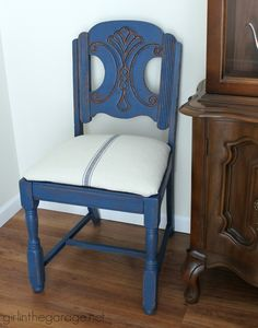 See how an outdated vintage chair got a French Country Chic makeover with new…