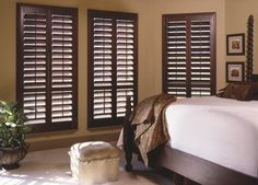 Pair these Dark wood plantation shutters with other wood furnishings to pull the whole look together!