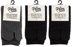 VToe Flip Flop Tabi Socks Black And Gray Solid 3 Pairs * Click image to review more details.