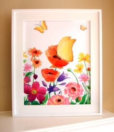 Butterflies with Flowers Giclee Fine Art by babychickdesigns