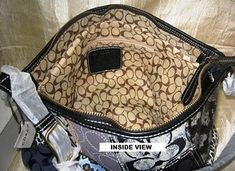 Research Fake Coach purses The easiest way to determine if a Coach purse is real or authentic is to look on the inside. If the outside of the purse has the C pattern on it, the inside will never have. Coach Handbags Outlet, Coach Purses, Purses And Bags, Coach Outlet, Fashion Bags, Fashion Accessories, Fashion Trends, Runway Fashion, Fake Designer Bags