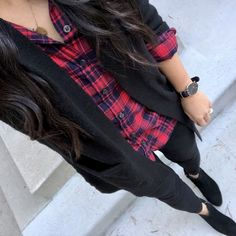 {Instagram Outfits Roundup} Black Cardigan + Red and Blue Flannels + Black Skinnies + Black Booties