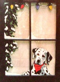 Dalmation, Painted Dog Window, Custom Pet Portrait, Dog Art, Pet Loss Memorial, Wall Hanging, Recycl