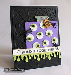 Office Space stamp set and Die-namics, Spooky Sentiments, Dripping Goo Edge Die-namics, Spider Web Cover-Up Die-namics, Jumbo Polka Dots Stencil - Amy Rohl #mftstamps